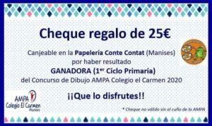 Cheque regalo covid 25€ 1er Ciclo Primaria