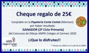 Cheque regalo covid 25€ 2º Ciclo Primaria