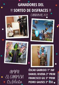 Resultado sorteo Carnaval 2021